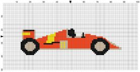 Beginner's Red Racing Car Counted Cross Stitch Sewing Kit